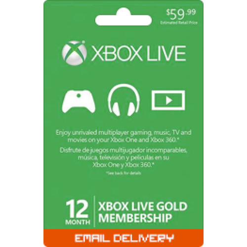 12 Month Membership - Xbox Live Gold Subscription Card (Email Delivery)