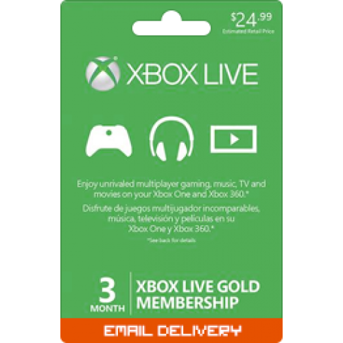 3 Month Membership - Xbox Live Gold Subscription Card (Email Delivery)